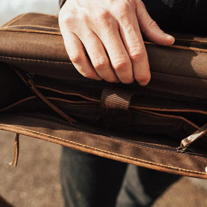 Buffalo Leather Satchel for Men - Classic Vintage Messenger Bag Inside