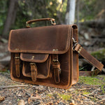 Buffalo Leather Satchel for Men - Classic Vintage Messenger Bag in Forest