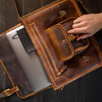 Buffalo Leather Satchel for Men - Classic Vintage Messenger Bag Open Laptop