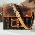 Buffalo Leather Satchel for Men - Classic Vintage Messenger Bag Outside
