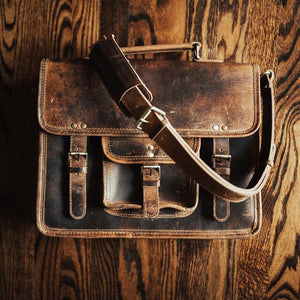 Buffalo Leather Satchel for Men - Classic Vintage Messenger Bag On Table