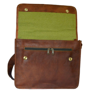 Crossbody Leather Satchel Messenger Bag for 15 Inch Laptops Open