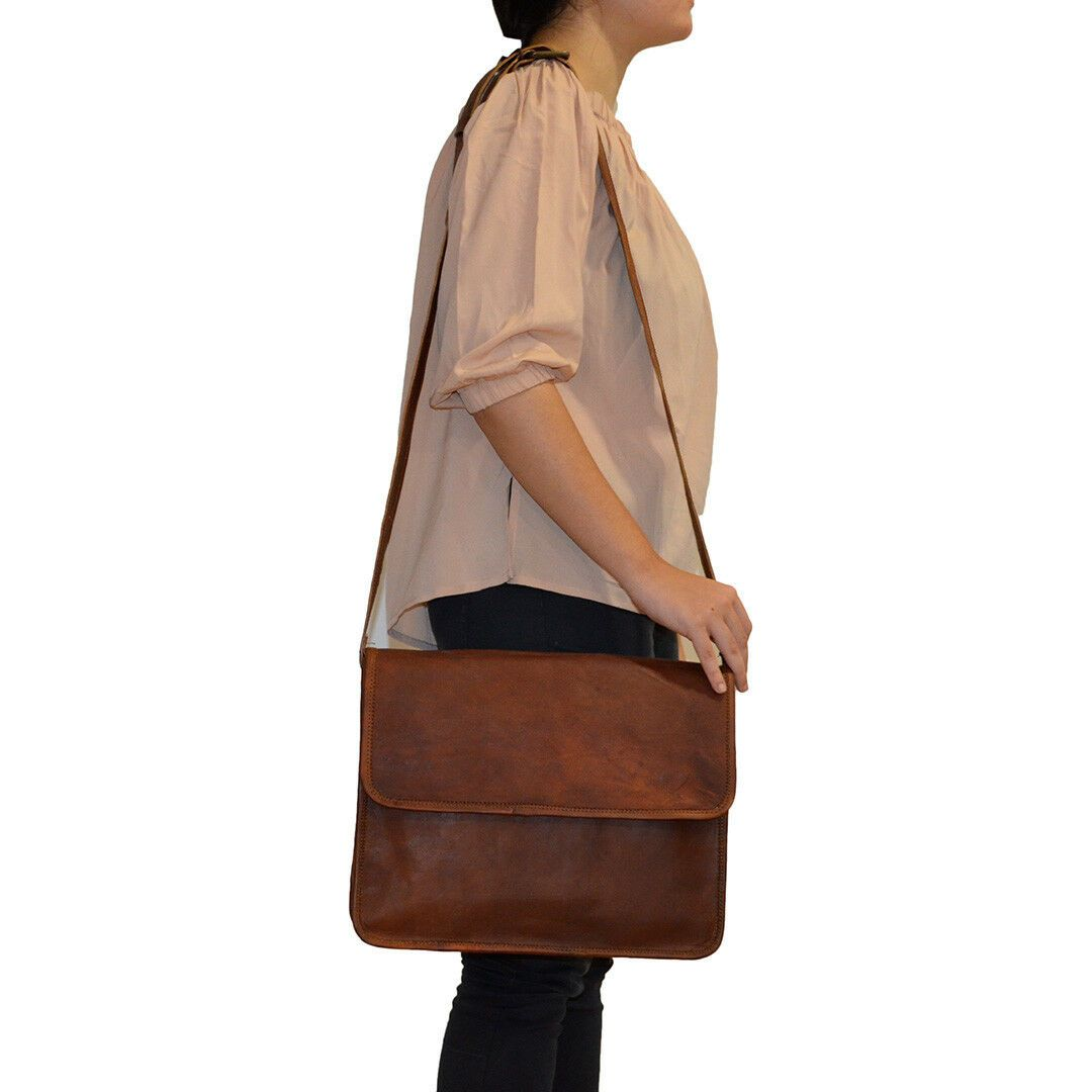 Crossbody Leather Satchel Messenger Bag for 15 Inch Laptops Worn