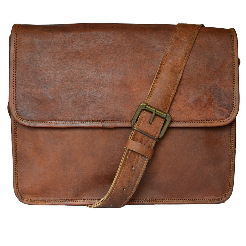 Crossbody Leather Satchel Messenger Bag for 15 Inch Laptops