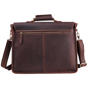Leather Laptop Messenger Briefcase for Men - Vintage Satchel Bag