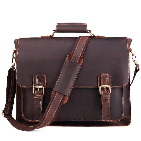 The Daily Men's Leather Messenger Bag for Laptops - Dark Brown Briefcase