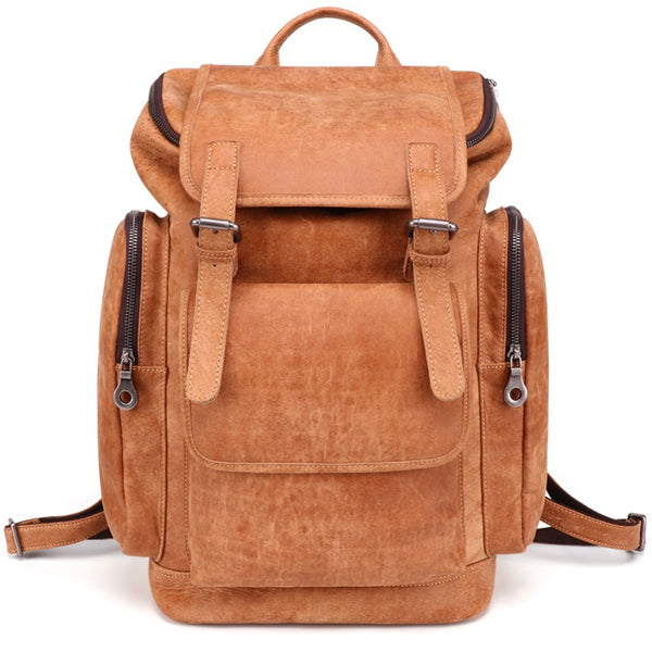 Vintage Leather Laptop Backpack Daypack for Men and Women