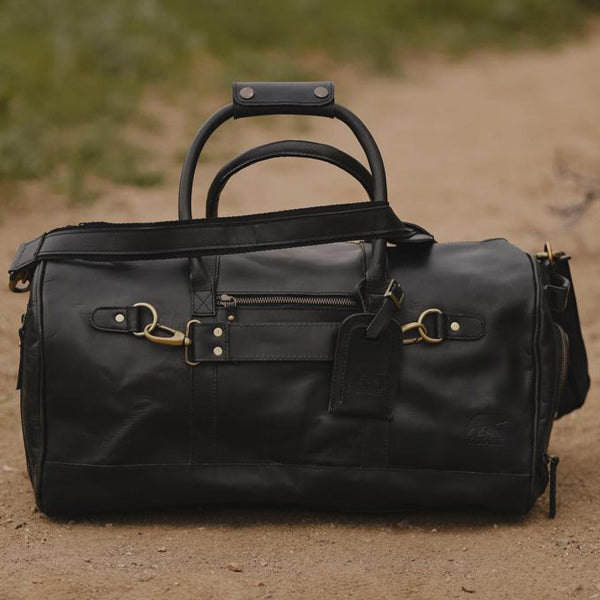 Men's Leather Duffel Bag - Airport Travel Weekend Bag Black