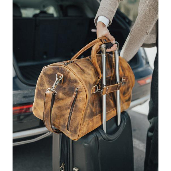 Men's Leather Duffel Bag - Airport Travel Weekend Bag Suitcase