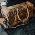 Men's Leather Duffel Bag - Airport Travel Weekend Bag Zipper