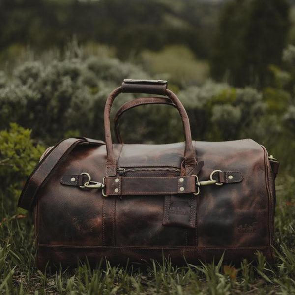 Men's Leather Duffel Bag - Airport Travel Weekend Bag Front