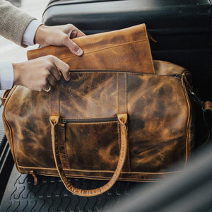 Men's Leather Duffel Bag - Airport Travel Weekend Bag Opening