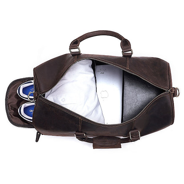 The Duffel Men's Leather Duffel Bag Inside Full