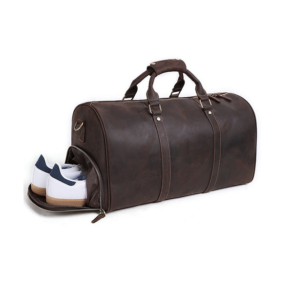 The Duffel Men's Leather Duffel Bag Shoe Pocket