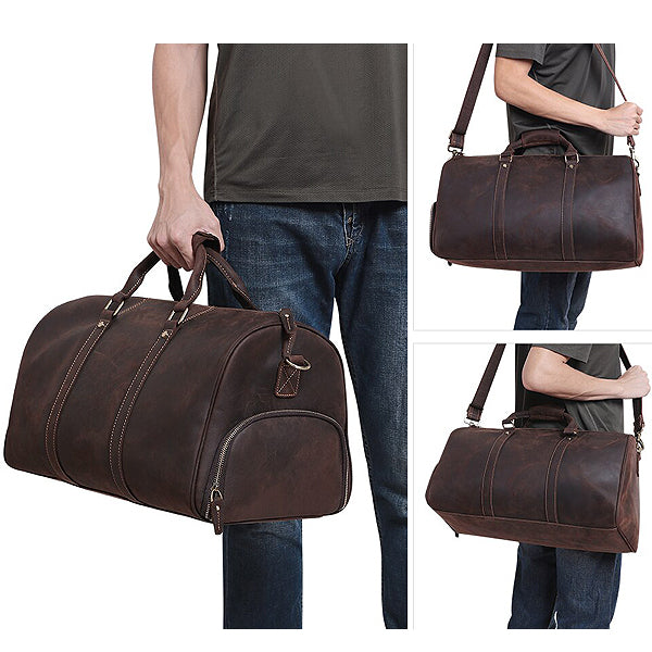 The Duffel Men's Leather Duffel Bag Styled x3