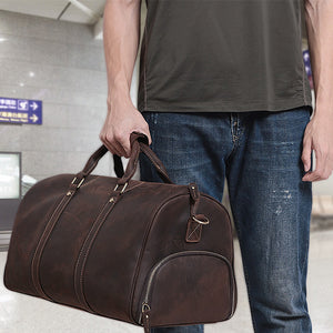 The Duffel Men's Leather Duffel Bag Styled Airport