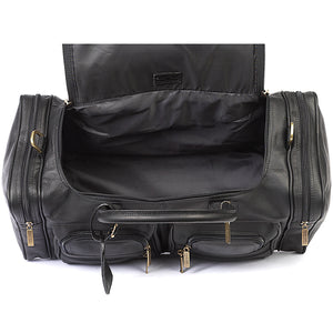 22 Inch Leather Duffel Bag for Men for Work Trips Black Inside