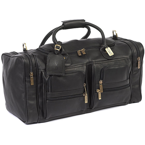 22 Inch Leather Duffel Bag for Men for Work Trips Black