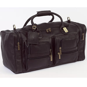 22 Inch Leather Duffel Bag for Men for Work Trips Brown