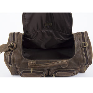 22 Inch Leather Duffel Bag for Men for Work Trips Distressed Open