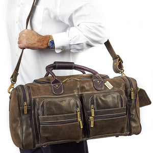 22 Inch Leather Duffel Bag for Men for Work Trips Distressed Worn