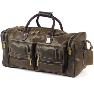 22 Inch Leather Duffel Bag for Men for Work Trips Distressed