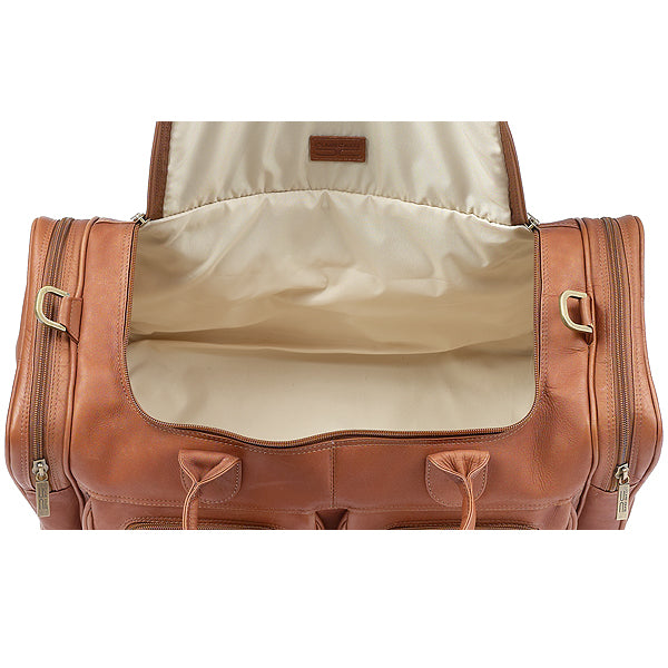 22 Inch Leather Duffel Bag for Men for Work Trips Tan Inside