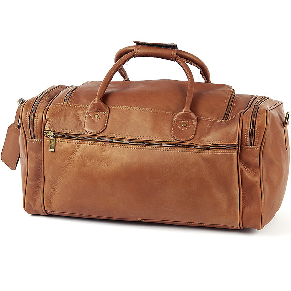 22 Inch Leather Duffel Bag for Men for Work Trips Tan Back