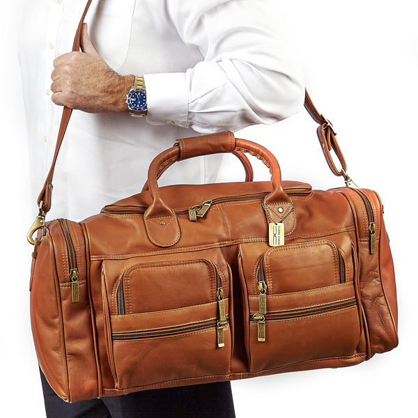 22 Inch Leather Duffel Bag for Men for Work Trips Tan Worn
