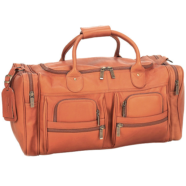 22 Inch Leather Duffel Bag for Men for Work Trips Tan