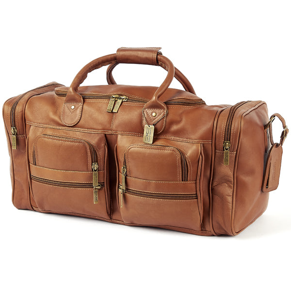 22 Inch Leather Duffel Bag for Men for Work Trips Tan 2