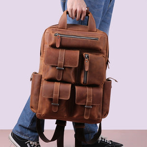 Men's Leather Backpack for 15 Inch Laptop Computers for Men and Women