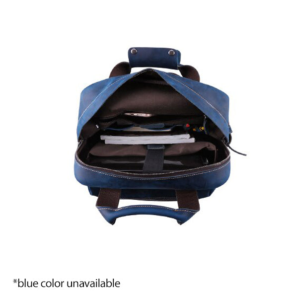 Men's Leather Backpack for 15 Inch Laptop Computers for Men and Women Open Full