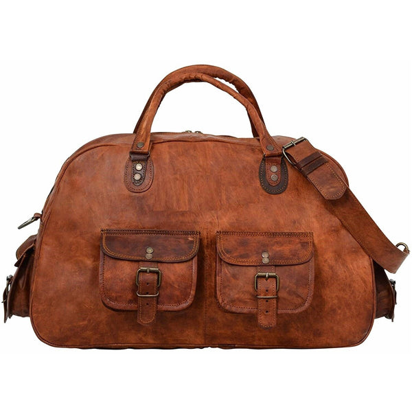 Leather Duffel Gym Bag for Men Front