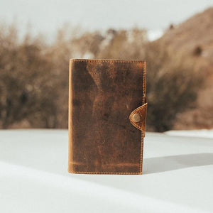 The Journal - Men's Top Grain Leather Diary Journal Button