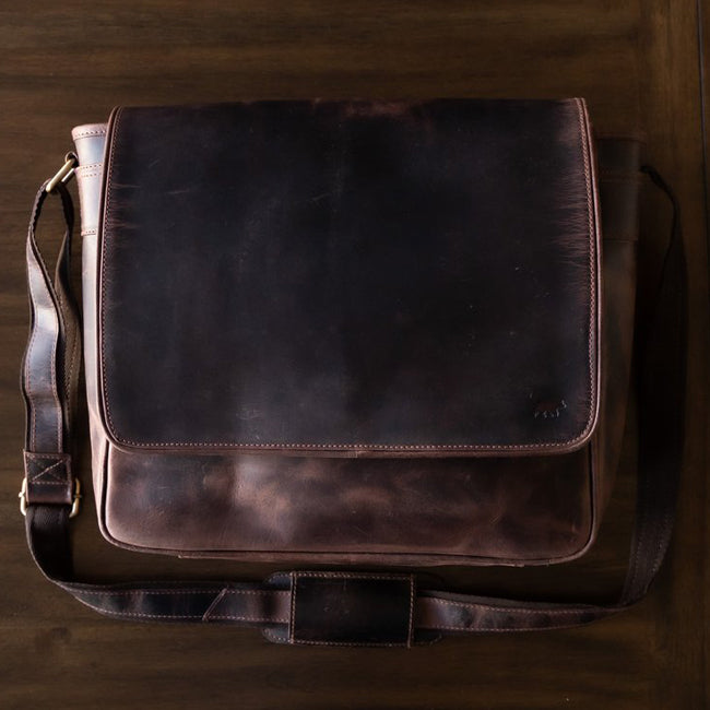 Leather Messenger Bag For Men For 15 and 17 Inch Laptops Brown
