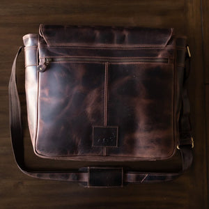 Leather Messenger Bag For Men For 15 and 17 Inch Laptops Brown Back