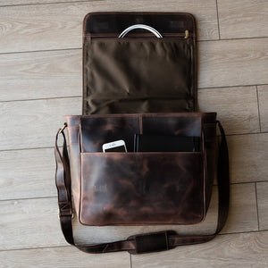 Leather Messenger Bag For Men For 15 and 17 Inch Laptops Brown Inside