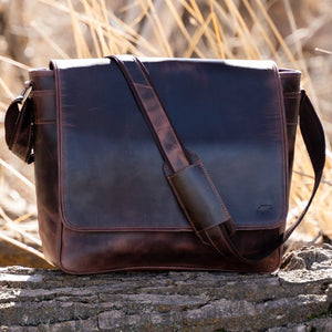 Leather Messenger Bag For Men For 15 and 17 Inch Laptops Brown Sat