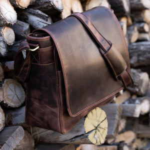 Leather Messenger Bag For Men For 15 and 17 Inch Laptops Brown Side