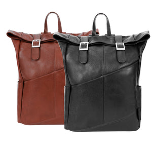Leather Laptop Backpack for Women & Men - Brown and Black Leather Black Both