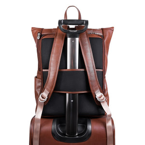 Leather Laptop Backpack for Women & Men - Brown and Black Leather on suitcase