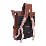 Leather Laptop Backpack for Women & Men - Brown and Black Leather Back