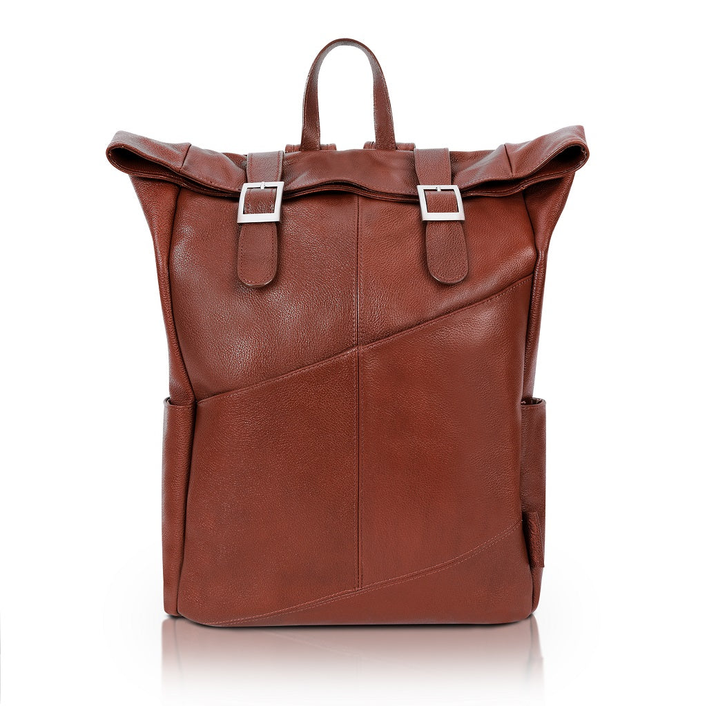Leather Laptop Backpack for Women & Men - Brown and Black Leather Front