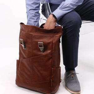 Leather Laptop Backpack for Women & Men - Brown and Black Leather Reaching In