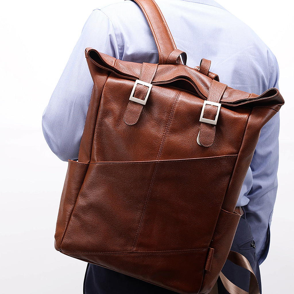 Leather Laptop Backpack for Women & Men - Brown and Black Leather Styled2