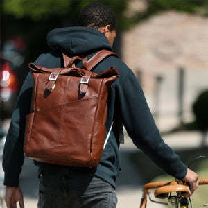 Leather Laptop Backpack for Women & Men - Brown and Black Leather With Bicycle