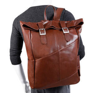 Leather Laptop Backpack for Women & Men - Brown and Black Leather Styled