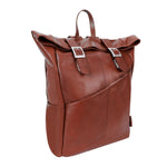 Leather Laptop Backpack for Women & Men - Brown and Black Leather 1