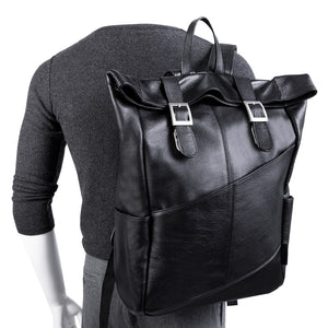 Leather Laptop Backpack for Women & Men - Brown and Black Leather Black  Held